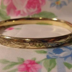 Floral Etched Gold Filled Hinged Bangle Bracelet